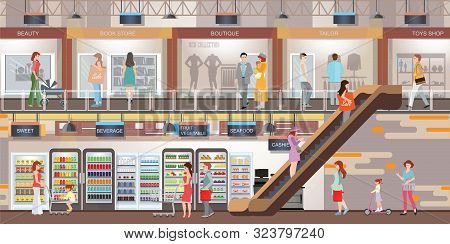 People Shopping At The Shopping Mall With Modern Retail Store And Supermarket. Shopping Interior Cen