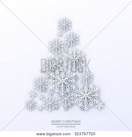 Christmas Illustration With White Three-dimensional Tree. Vector