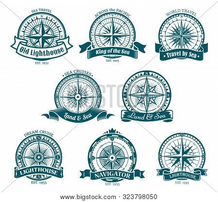 Wind Rose Navigation And Orientation Compass Icons. Vector Retro Compass With Directions South And W