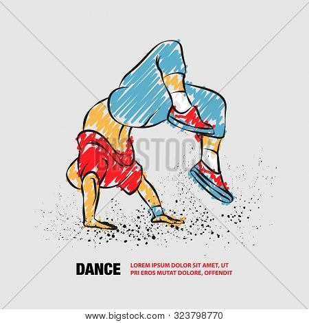 Breakdancer Doing A Back Flip. The Man Is Dancing Hip Hop Style. Vector Outline Of Breakdancer With