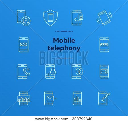 Mobile Telephony Icons. Set Of Line Icons. Mobile Analytics, Design App, Drawing App. Mobile Softwar