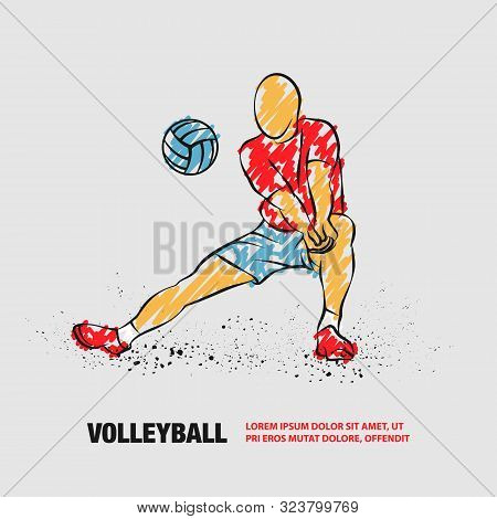 Volleyball Player Plays Volleyball. Vector Outline Of Volleyball Player With Scribble Doodles.