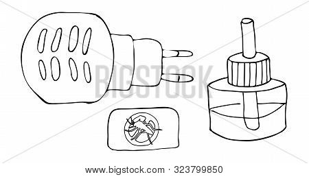 Hand Drawing Sketch Fumigator With A Bottle Of Poisonous Liquid With A Rod And A Plate. Anti-mosquit