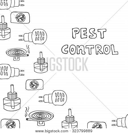 Lettering Pest Control. Hand Drawing Frame With Element For Anti-mosquito Device Isolated Background