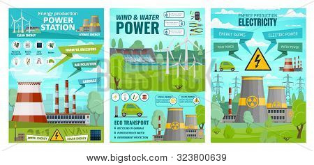 Energy, Wind And Water Power Plants, Eco Transport. Vector Electricity Production Plants, Voltage Ge