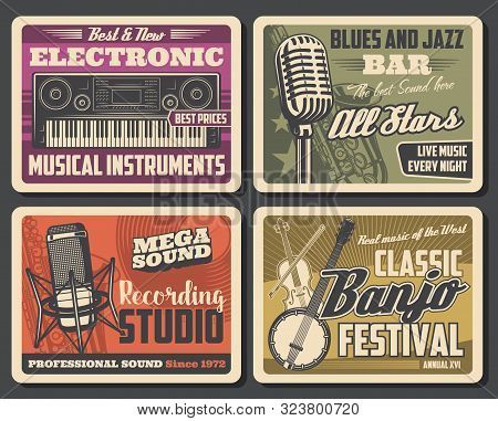 Music Recording Studio And Musical Instruments, Equipment. Vector Electronic Synthesizer, Profession