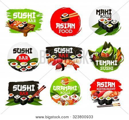 Sushi Bar Food, Isolated Seafood Restaurant Icons. Vector Japanese Cuisine Dish With Salmon, Shrimp,