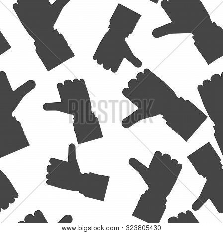 Hand Thumb Up Icon Flat. Vector Illustration Thumb Up Seamless Pattern On A White Background.