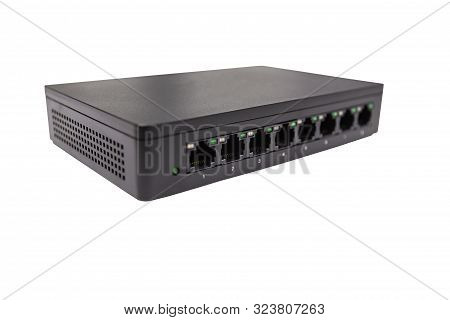 Black Switch 8 Port Gigabit Isolated White Background Device Connect Network And Internet, Clipping