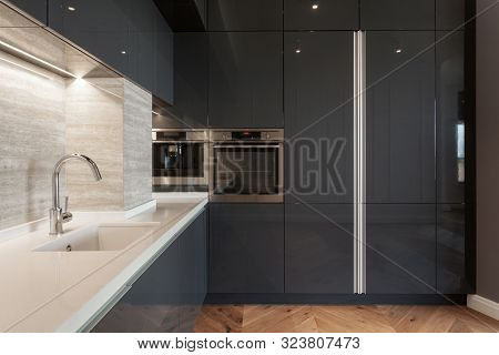 Modern Apartment With Contemporary Interior At New Kitchen. Built In Household Appliance, Electric S
