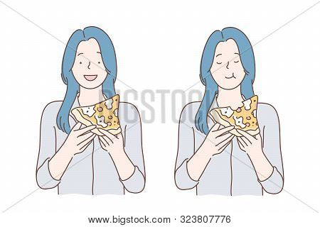 Lunch, Fastfood, Hunger, Meal Concept. Young Satisfied Hungry Woman Or Girl Eating Pizza In Coffee S