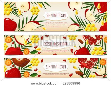 Shana Tova. Set Of New Year Banners With Honey, Shofar, Apple, Pomegranate, Carrot, Palm. Happy New