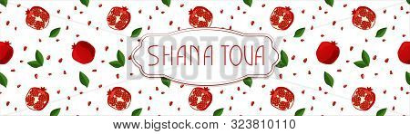 Rosh Hasanah. New Year Banner With Pomegranate, Leaf Pettern. Happy New Year In Israeli.