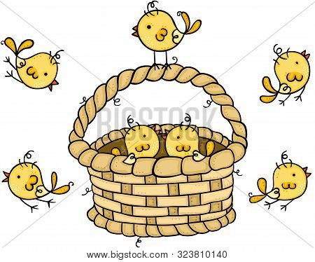 Scalable Vectorial Representing A Wicker Basket With Little Yellow Birds, Element For Design, Illust