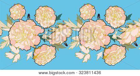 Romantic Elegant Festive Peony Botanical Border, Victorian Peony Blossom In Pastel Tones. With Butte