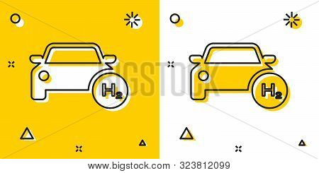Black Hydrogen Car Icon Isolated On Yellow And White Background. H2 Station Sign. Hydrogen Fuel Cell