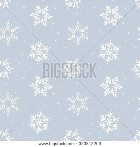 Christmas Seamless Pattern. Winter Snowflake Vector Pattern. Flat Line Snowing Icons, Cute Snow Flak