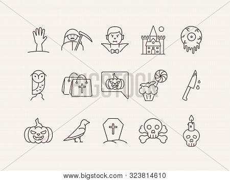 Halloween Party Elements Line Icons. Cut Hand, Skull With Crossed Bones, Dracula. Halloween Concept.