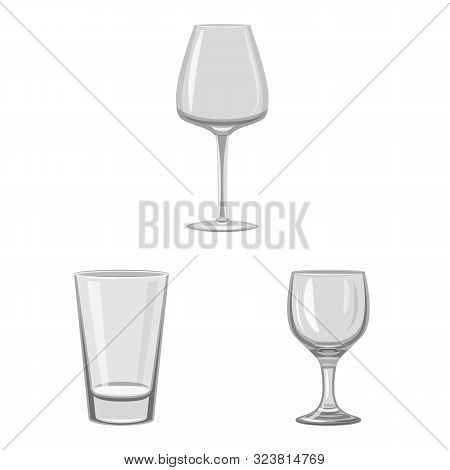 Isolated Object Of Capacity And Glassware Logo. Collection Of Capacity And Restaurant Stock Symbol F