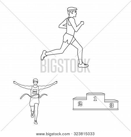 Vector Illustration Of Exercise And Sprinter Icon. Collection Of Exercise And Marathon Stock Symbol