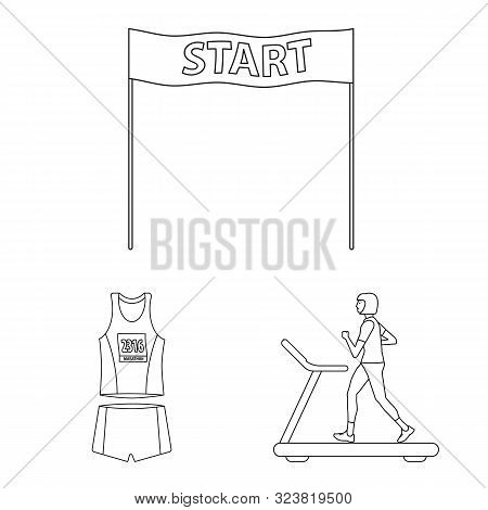 Isolated Object Of Exercise And Sprinter Icon. Collection Of Exercise And Marathon Vector Icon For S