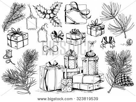 Gift Box Sketch. Christmas Collection Of Ribbon Bows, Present Boxes And Evergreen Branches. Hand Dra