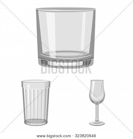 Vector Illustration Of Capacity And Glassware Symbol. Collection Of Capacity And Restaurant Stock Sy