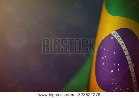 Brazil Hanging Flag For Honour Of Veterans Day Or Memorial Day On Blue Dark Velvet Background. Brazi
