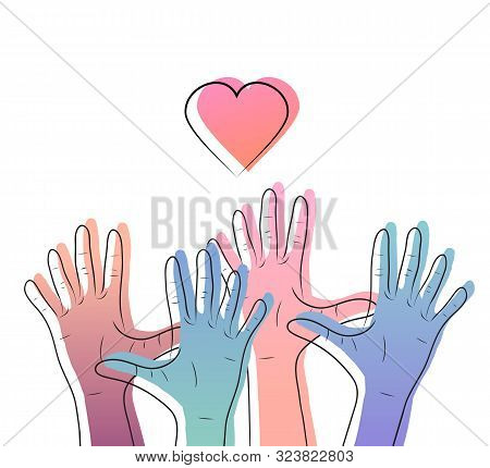 Linear Illustration Of Color Gradient Human Hands With Hearts. International Day Of Friendship And K
