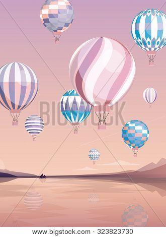Flying Air Balloons Flat Vector Illustration. Various Aircrafts Over River. Aerial Transportation Ba
