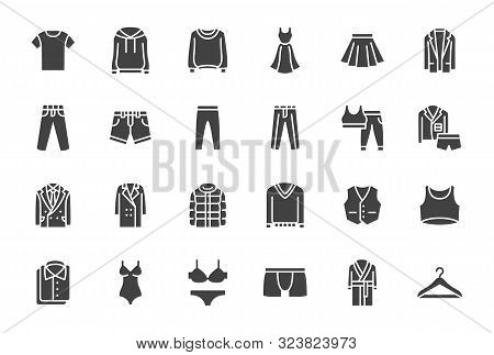 Clothes, Fashion Silhouette Icons. Vector Illustration Included Icon As Jacket, Winter Coat, Sweatsh
