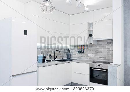 Modern White Kitchen Interior. Contemporary Interior With Loft Elements