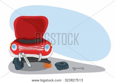 Front View Of A Red Rumpled Car With A Fallen Off Wheel. Unforeseen Road Accident