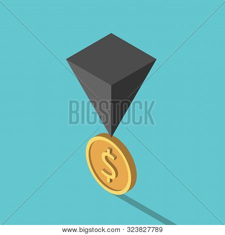 Isometric Black Pyramid On Gold Dolalr Coin. Financial Crisis, Risk, Instability, Unstable Economy A