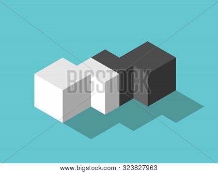 White And Black Isometric Cubes And Mediator In Between. Mediation, Diplomacy, Merger, Management, F