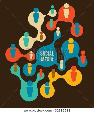 Ilustración de los medios de comunicación y red social