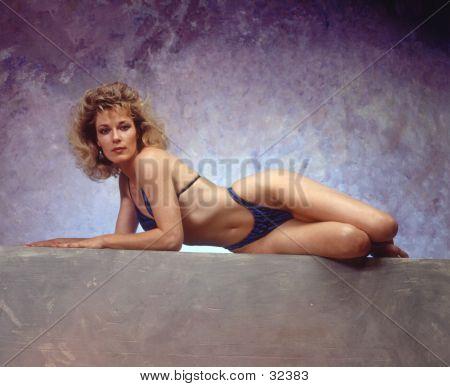 Woman In Blue Bathing Suit