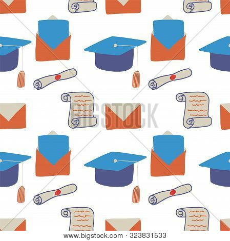 Cartoon Seamless Pattern With Blue Bachelor Hat, Manuscript On White Background. Diploma Illustratio