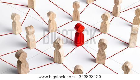 Wooden Figures Of People Employees Are Connected With Their Leader By A Business Network. Communicat