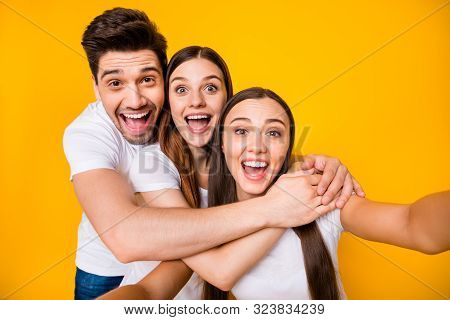 Self-portrait Of Three Nice Attractive Lovely Cheerful Cheery Positive Playful Person Buddy Fellow H