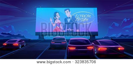 Car Cinema. Drive-in Theater With Automobiles Stand In Open Air Parking At Night. Large Outdoor Scre