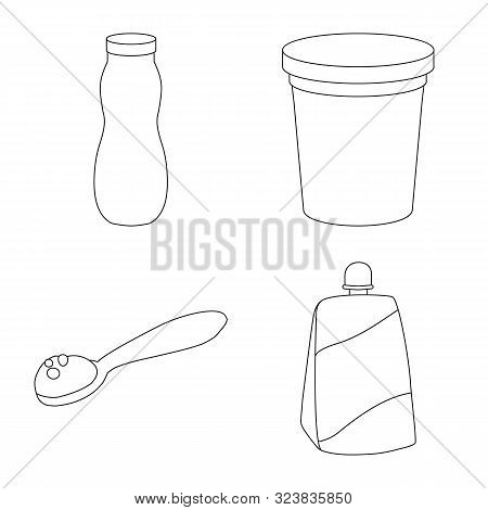 Vector Illustration Of Calcium And Food Symbol. Set Of Calcium And Product Stock Symbol For Web.
