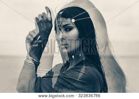 Beautiful Young Woman Portrait Outdoors. Spiritual Concept. Double Exposure