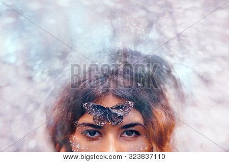 Beautiful Young Woman With Butterfly. Conceptual. Double Exposure