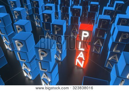 The Word Plan On Cubes. The Concept Of A Good Business Strategy. A Lot Of Plan Among One Good. 3d Re