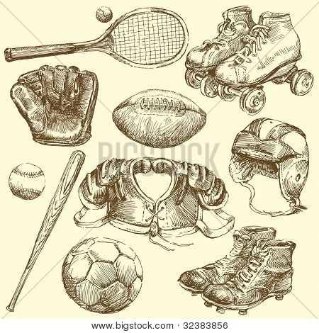 vintage sport equipment - hand drawn set