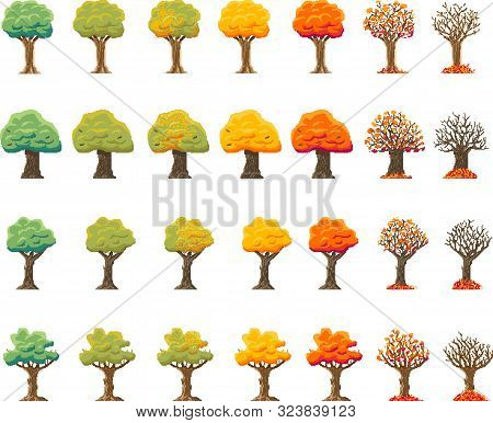 Indie-style Set Of Autumn Treesin An 8-bit Indie Arcade Game. Pixel Art 28 Different Trees In The Pe