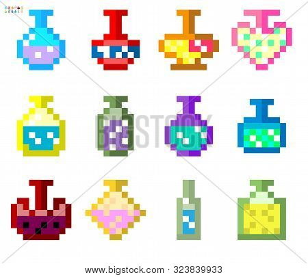 Indie-style Set Of Potions In An 8-bit Indie Arcade Game. Pixel Art, Bottles With Potions Of Differe
