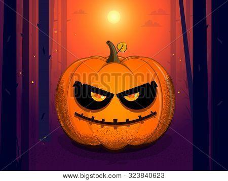 Sly Evil Pumpkin At Sunset On Halloween