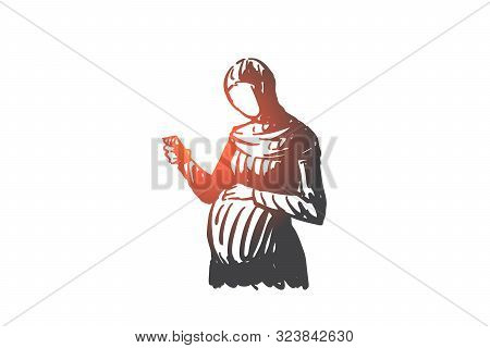 Pregnant Muslim Woman Concept Sketch. Expectant Arab Lady Touching Cute Belly, Holding Smartphone, F